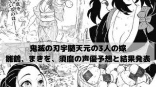鬼滅の刃宇髄天元の3人の嫁、雛鶴、まきを、須磨の声優予想と結果発表!